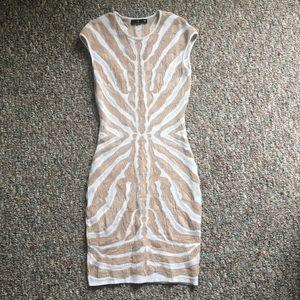 RVN Bodycon Dress - White/Cream Stripe